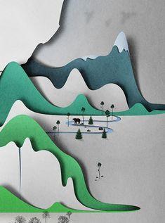Cahier/autre monde Construction des images  Maître dans le domaine et dans la technique du Paper Art, le lituanien Eiko Ujala dont nous avions déjà parlé sur Fubiz en janvier 2013 a récemment présenté ce projet intitulé « Vertical Landscape ». Une illustration en papier d'une beauté à couper le souffle.