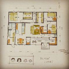 中日設計事務所さんはInstagramを利用しています:「Wed,1 November.2017 今日から11月❗ 間取です🎵 #暮らしゃすはうす 夫婦と子供2人が暮らす平屋です。 今回も前回同様、土間玄関がポイント😁 今回は玄関CLをしっかり取りました🎵隠したいものは隠して土間部分はすっきり❗…」 L Dk, One Story Homes, Instagram Widget, Dream House Plans, Floor Plans, Layout, House Design, How To Plan, Home Decor