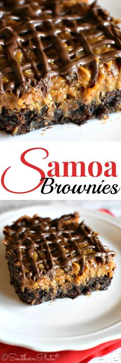 Samoa Brownies - These are AMAZING! (and easy, too!) ~ https://www.southernplate.com