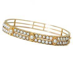 Antique Pearl Bangle Bracelet
