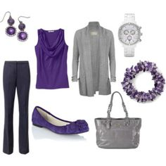 love purple - except the shoes - must be heels!