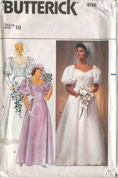 Butterick 4766 Vintage 1980s Wedding Dress Pattern B32.5