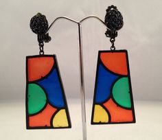 Mod Style Stained Glass Earrings on Etsy, $14.00