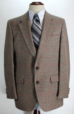Stafford Blazer Sport Coat Mens size 42R Plaid 100% Wool made in USA 2 Button #Stafford #TwoButton