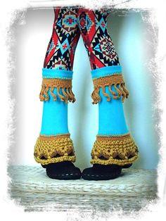 Bright TURQUOISE PIXIE leg warmers Flared Boho Urban Leg by GPyoga