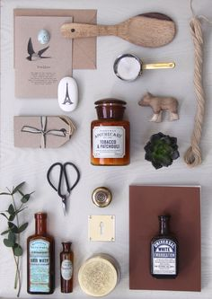 A group of lovely things from our shop, Willow & Stone, Falmouth. Photo designed by Fliss. #willowandstone #paddywax #candles #antiquebottles #flowerscissors #labels #tags #ironmongery #brassware