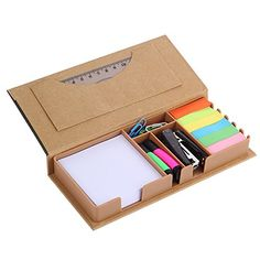 Sticky Note Flag Organizer Includes Mini Stapler Paper Clip and Highlighter Kraftpaper Cover : Office Products Paper Crafts Origami, Cardboard Crafts, Origami Art, Diy Desktop, Desk Stationery, Cool School Supplies, Desk Organization Diy, Cool Notebooks, Diy Box