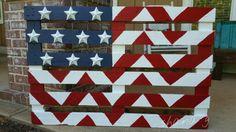American Flag! Chevron,  painted pallet