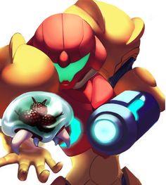 Metroid by Mass-Maniac. Metroid Samus, Metroid Prime, Samus Aran, Video Game Art, Video Games, Metroid Series, Wow Video, Super Metroid, Nintendo