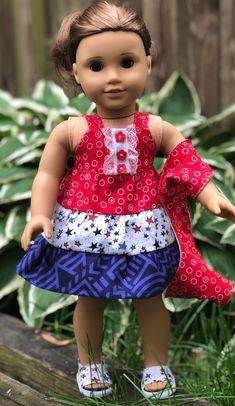 "American Flag Patriotic Ruffle Dress For 18/"" American Girl Doll"