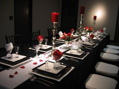 Black white and red table setting 2
