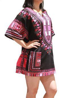 Traditional African Dashiki Shirt Dress Unisex for Men or Women - Black & Pink - Free Size