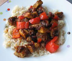 Vegan Iowan: Kung Pao Tofu - my husband said the flavor is better than from a restaurant! Vegan Korean Food, Vegan Vegetarian, Vegetarian Recipes, Kung Pao Tofu, Delicious Vegan Recipes, Healthy Recipes, Vegan Fish, Vegan Dinners, Asian Recipes