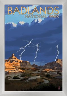 Badlands National Park, South Dakota - Lightning Storm - Lantern Press Artwork (16x24 Giclee Art Print, Gallery Framed, Silver Wood), Multi
