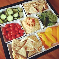 Hummus with Veggies & Pita. For watching a good movie, perhaps on Saturday night...