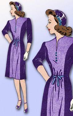 1940s ORIGINAL Stunning Unused WWII Mail Order Dress Pattern Sz 32 B