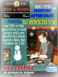 Record Hop Reverend Martini's Featuring DJ Rockin Vic and his rare collection of Vinyl you will hop, bop, stroll, jump and jive to this Thursday Dec. 27. Cheap drink Specials back bar only 10 til 1:30 no cover, all ages