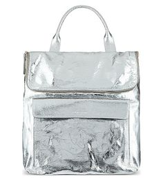 WHISTLES Verity metallic cracked leather rucksack (Silver