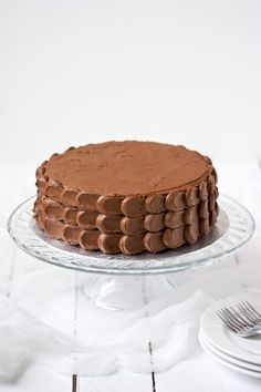 Chocolate Cake with Chocolate Buttercream Frosting #recipe