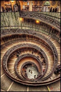 Stairs at The Vatican City Museum, Rome, Italy Beautiful Architecture, Beautiful Buildings, Art And Architecture, Beautiful Places, Beautiful Pictures, Places To Travel, Places To Visit, Voyage Rome, Stairway To Heaven