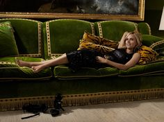 S/he's Got Style. Tory Burch on her library's emerald green silk velvet sofa. Interior Designer: Daniel Romualdez. Photographer: Nigel Barker for Tatler Philippenes, October 2009.