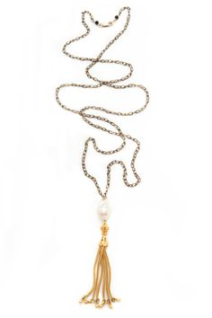 Long Gold Tassel Necklace with Baroque Pearl Oxidized by SPJNYC, $275.00