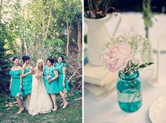 table decor blue mason jars, bridesmaids, table flowers, dream, bridesmaid dresses, event, bridesmaid colors, wedding colors, turquoise table decorations
