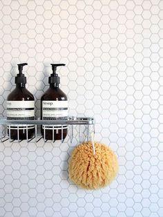 White hexagon (penny) tile - bathroom wall w/ minimalist chrome hardware Bathroom Renos, Laundry In Bathroom, Bathroom Interior, Small Bathroom, Master Bathroom, Bathroom Ideas, Bathroom Styling, Bathroom Wall, Washroom