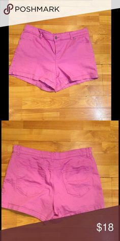 Pink Denim Shorts These cute shorts feature both front and back pockets, measure 13 inches long, gently used. 98% Cotton, 2% Spandex (This closet does not trade or use PayPal) New York & Company Shorts Jean Shorts