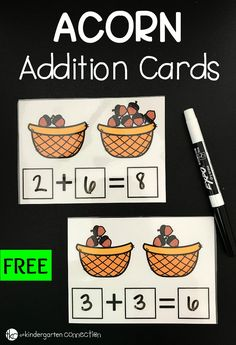 Our free acorn-themed fall addition cards are a great math activity to reinforce counting skills and practice addition skills.