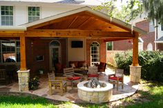 Outdoor living room and fire pit - Greatwood, in Sugar Land, TX