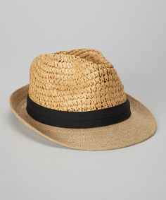 Take a look at the Tan & Black Two-Weave Fedora on #zulily today!