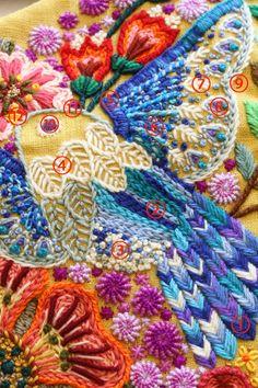 先日ご紹介したステッチイデーグランプリ受賞作品・鳥の楽園 。 今回は作品で使った一部のステッチと糸番号をご紹介します。 今回の主役、青い鳥です...