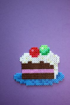 Cake hama mini beads by KRiisKrads Hama Beads Design, Diy Perler Beads, Perler Bead Art, Pearler Beads, Pearler Bead Patterns, Perler Patterns, Pearl Beads Pattern, Hama Mini, Do It Yourself Inspiration