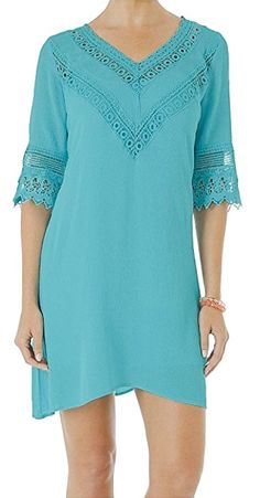 05bbc5507349 Wrangler Women's Turquoise Crochet Neck And Sleeves Dress Turquoise Medium