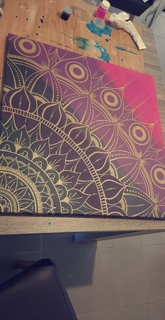 Gold mandala painting – Lieselotte Wimmerzahn – paintings and decoration - Modern Mandala Art, Mandala Canvas, Mandala Drawing, Mandala Painting, Dot Painting, Doodles Sharpie, Doodle Patterns, Art Doodle, Wall Drawing