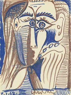 Pablo Picasso, Tête appuyée sur la main 1962 ➕More Pins Like This At FOSTERGINGER @ Pinterest ➖ ✖️