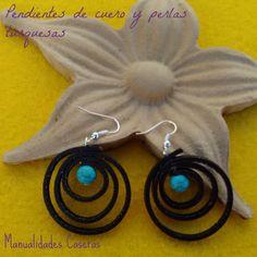 Manualidades para regalar :Pendientes de cuero y perlas turquesas