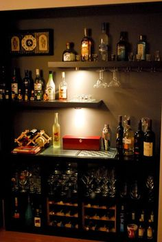 Cool diy bar from ikea hackers- like the wall shelves. You could use it for a wine bar, or something non alcohol related as well. Ikea Hackers, Diy Bar, Bar Sala, Lack Shelf, Home Bar Decor, Bar Home, Mini Bar At Home, Home Bar Setup, Home Bar Designs