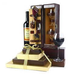 Executive Chocolate Tower & Personalized Wine Gift Set - Kosher Gifts