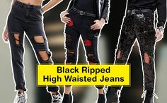 Black Ripped High Waisted Jeans to buy online