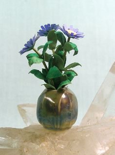 Mostly Art - Arts and Crafts style porcelain vase with asters made from a Bonnie Lavish kit, selling on etsy for $21
