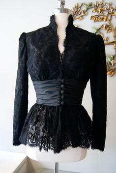 Vintage 80s Black Lace Jacket by Travilla by xtabayvintage on Etsy, $125.00