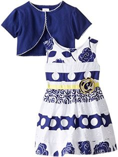 Youngland Baby Girls' Mixed Print and Eyelet Dress with Knit Shrug