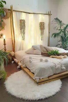 Modern Bohemian Bedrooms & Home Interior Decor Ideas Bedroom Layouts, Room Ideas Bedroom, Home Decor Bedroom, Bedroom Designs, Bedroom Curtains, Bedroom Plants, Diy Bedroom, Bedroom Furniture, Bedroom 2018
