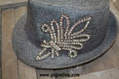 Light Grey Fedora with Crystal Fleur de Lis Save 10% by using promo code GUGREPBRITT at checkout! www.gugonline.com