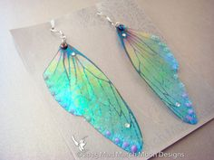 Glitter Rainbow Fairy wing earrings iridescent by MadMarchMoon