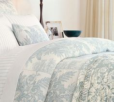 Matine Toile Duvet Cover  Sham - Dark Porcelain Blue | Pottery Barn