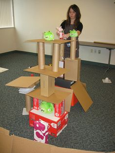Full Size Angry Birds with boxes.  Yes!