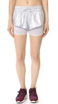 Adidas By Stella Mccartney Run 2 In 1 Shorts - Silver Metallic | SHOPBOP saved by #ShoppingIS